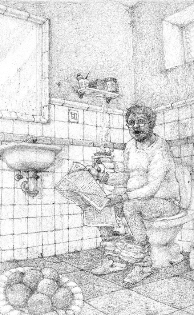 Ilustración de Norberto Fuentes para el cuento 'Falsa Moneda'.