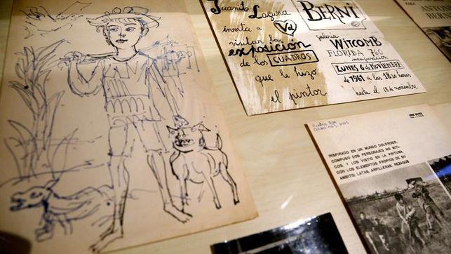 Algunos de los documentos que ilustran la exposición de Antonio Berni, en el Lázaro Galdiano.