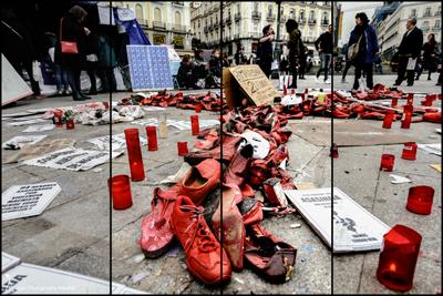 Cuatro mujeres continúan en huelga contra la violencia machista, en la Puerta del Sol