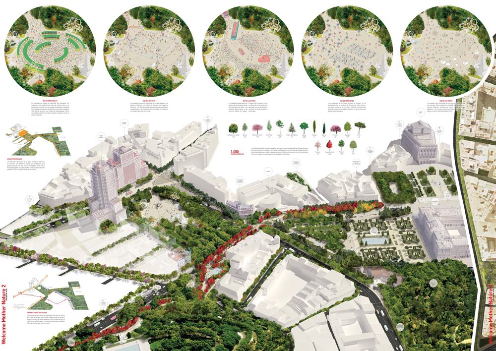 'Welcome mother Nature, good bye Mr Ford', proyecto ganador para la remodelación de la Plaza de España de Madrid.