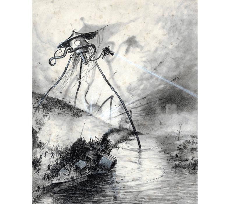 Ilustración de Alvim Corrêa para 'La guerra de los mundos'.