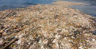 La 'isla de plástico' que flota en el mar Caribe.
