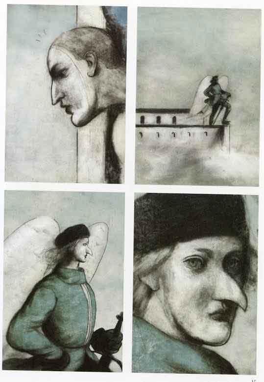 """Ilustraciones de Pablo Auladell, en la novela gráfica """"El paraíso perdido""""."""