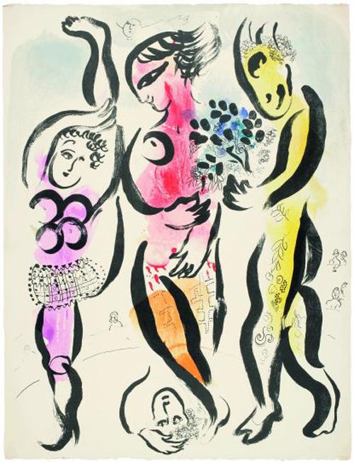 Los tres acróbatas, de Marc Chagall.