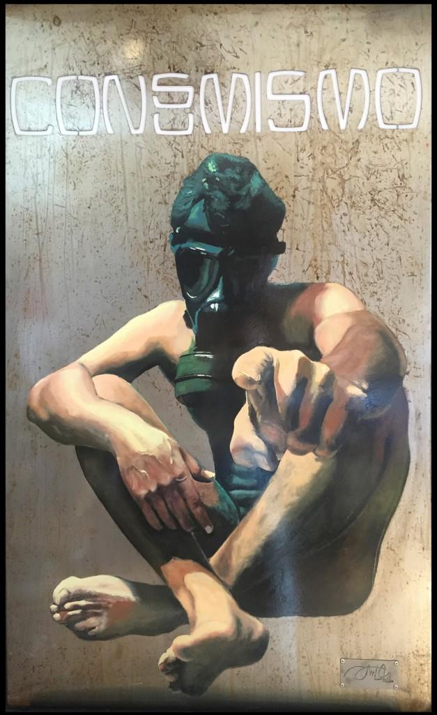 Cuadro de David Nieto, titulado 'Consumismo'. Una de las obras expuestas en La Neomudéjar.