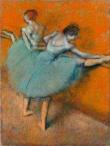 Bailarinas en la barra, Edgar Degas.