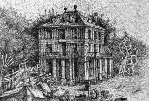 Ilustración de Norberto Fuentes, de la villa Diodati.
