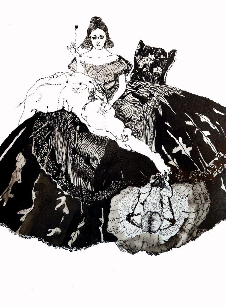 Ilustración de Soledad Velasco, sobre Mary Shelley.