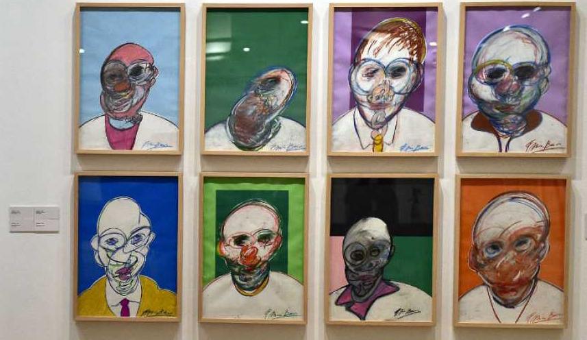 Retratos de la exposición 'Francis Bacon. La cuestión del color', en el Círculo de Bellas Artes de Madrid.