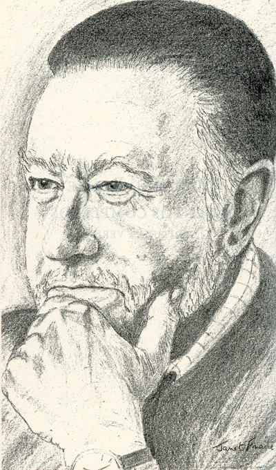 Dibujo de Medardo Fraile, realizado por su mujer Janet, incluido en el libro.