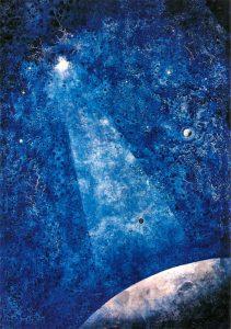 'Faro celeste', obra expuesta en Universo Guajardo, pintura púnica.