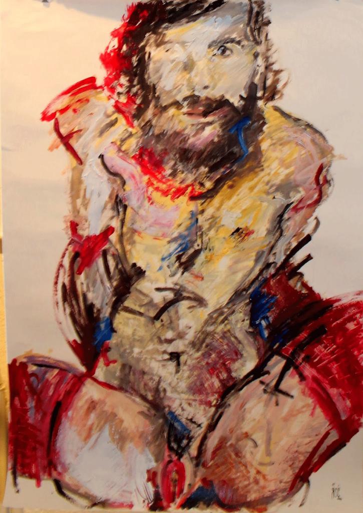 Pintura de Paco Rosco para la exposición 'EGOsenso, la confrontación del otro YO' (Galería Siluro Concept, Madrid).