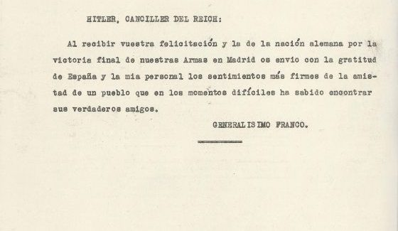 Telegrama de Franco a Hitler, en agradecimiento, nada más terminar la Guerra Civil (documento perteneciente a la Colección Castañé).
