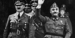 Fotografiada (trucada por la dictadura) del encuentro de Hitler y Franco en Hendaya (23 de octubre de 1940).