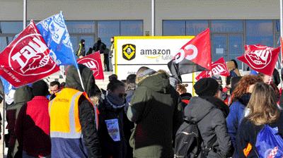 Imágenes de la huelga de los trabajadores de Amazon, en Madrid.