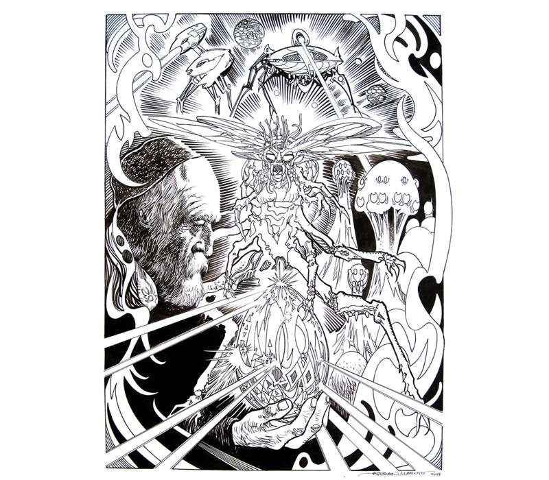 Ilustración de Esteban Maroto sobre H. G. Wells.