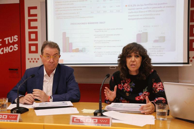 Ana González y Jaime Cedrún, en la presentación del informe 'Marcadores de pobreza, riesgo social y desigualdad en la población madrileña', presentado el 17 de octubre, por CCOO de Madrid.