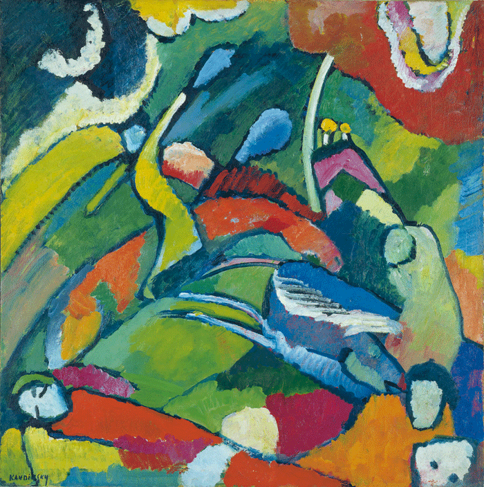 Vassily Kandinsky. Dos jinetes y figura reposando, 1909-1910 [Two Riders and Figure at Rest] Óleo sobre cartón piedra, 70,4 × 70,1 cm  © Vassily Kandinsky,VEGAP, Madrid, 2018  © Merzbacher Kunststiftung, Suiza.