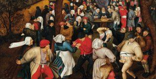 Pieter Brueghel el Joven. Baile de boda campesina al aire libre. Hacia 1610.