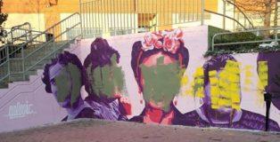 Así ha amanecido este martes la réplica del mural de Ciudad Lineal que pintaron el sábado en Getafe.